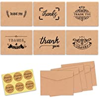 Thank You Cards, 36pcs Brown Kraft Paper Thank You Greeting Cards with Stickers and Envelopes, Thank U Card for Weddings, Bridal Showers, Baby Showers and Graduations