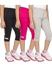 OCEAN RACE Girls attarctive Colors Cotton Capris(3/4 Th Pant)-Pack of 3
