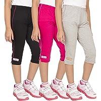OCEAN RACE Women attarctive Colors Cotton Capris(3/4 Th Pant)-Pack of 3