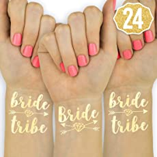 22 Bride Tribe Flash Tattoos - Gold | Bachelorette Party Decorations, Bridesmaid Gift + Bride to Be Favor