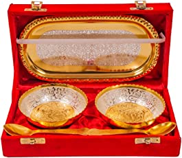 Richi Rich Richi Rich Silver And Gold Plated Brass Bowl And Tray Set Of 5 Pcs