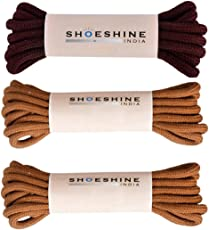 Shoeshine India round shoelace for casual shoes or boots (Pack of 3 pairs)