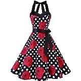 DRESSTELLS Donne 1950 Audrey Hepbun Vintage con Allacciatura al Collo di Polka Dots Cocktail Vestito