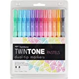Tombow 61501 Twintone Marker Set, Pastel, 12-Pack. Double-Sided Markers for Bold and Precise Writing