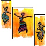 wallmax Set of 3 African Lady UV Textured Multi Effect 6 MM MDF Framed Wall Painting For Living Room Gift Item 10 Inch x 30 I