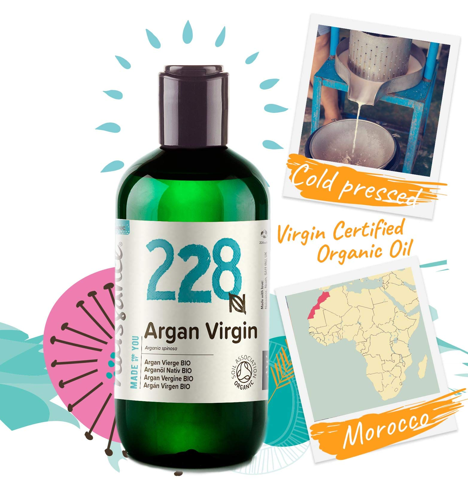 Naissance Aceite Vegetal de Argán de Marruecos BIO n. º 228-250ml – Puro, natural, vegano, certificado ecológico, sin…
