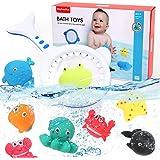 BeebeeRun 9 Piezas Juguete Baño Bebe Juegos de Pesca para Juguetes Bañera Animales Marinos Juguete Flotante para niños Niñito
