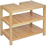 Mobile sottolavabo in legno marrone, 40 x 65 x 55 cm, apertura per sifone, tre ripiani