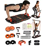 Gonex Draagbare Home Gym 10 in 1 Home Workout Apparatuur met Ab Roller Wheel, 3-Section Bar, Post Landmine Sleeve, Push-up Bo