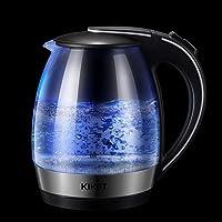 Bollitore Acqua Elettrico  KIKET Bollitore Elettrico  Bollitore in Vetro con LED  Protezione Boil dry  BPA Free Teiera  2200W  1 7 L