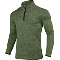 KEFITEVD Men's Spring Autumn 1/4 Zip Sports Tops Casual Long Sleeve Gym Running Polo Shirts Outdoor Warm Hiking Fishing…
