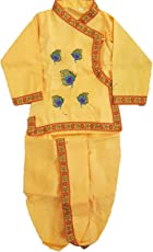 Winmaarc Krishna Dress Handloom Bagal Bandi Boys and Girls Dhoti Kurta Kids Ethnic Wear, Little Krishna for Janmashtami Dress