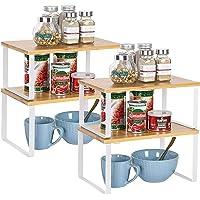 HAITRAL Lot de 4 étagères empilables et extensibles en bambou pour armoire de cuisine et comptoir - Empilables et…