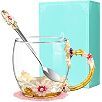 Flower Tea Cup, Wisolt Lead-Free Handmade Glass Enamel Mugs with Delicate Spoon and Gift Box, Perfect Gift for Wife, Mum…