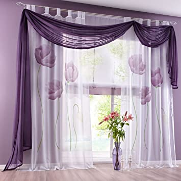 Amazonde Souarts Lila Blumen Transparent Gardine Vorhang Schlaufenschal Deko Fr Wohnzimmer