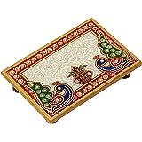 Handicrafts Paradise Peacock and Kalash Designed Rectangle Shape Marble Pooja Chowki (15.3 cm x 10.2 cm x 2.55 cm)