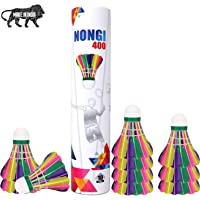 NONGI 400 Colored Feather Badminton Shuttlecock || 4 Color (Pack of 10) || Made in India