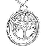 LOVORDS Collar Mujer Grabado Plata de Ley 925 Colgante Árbol de la Vida Familiar Círculo Regalo Madre Mamá Esposa Novia Abuel
