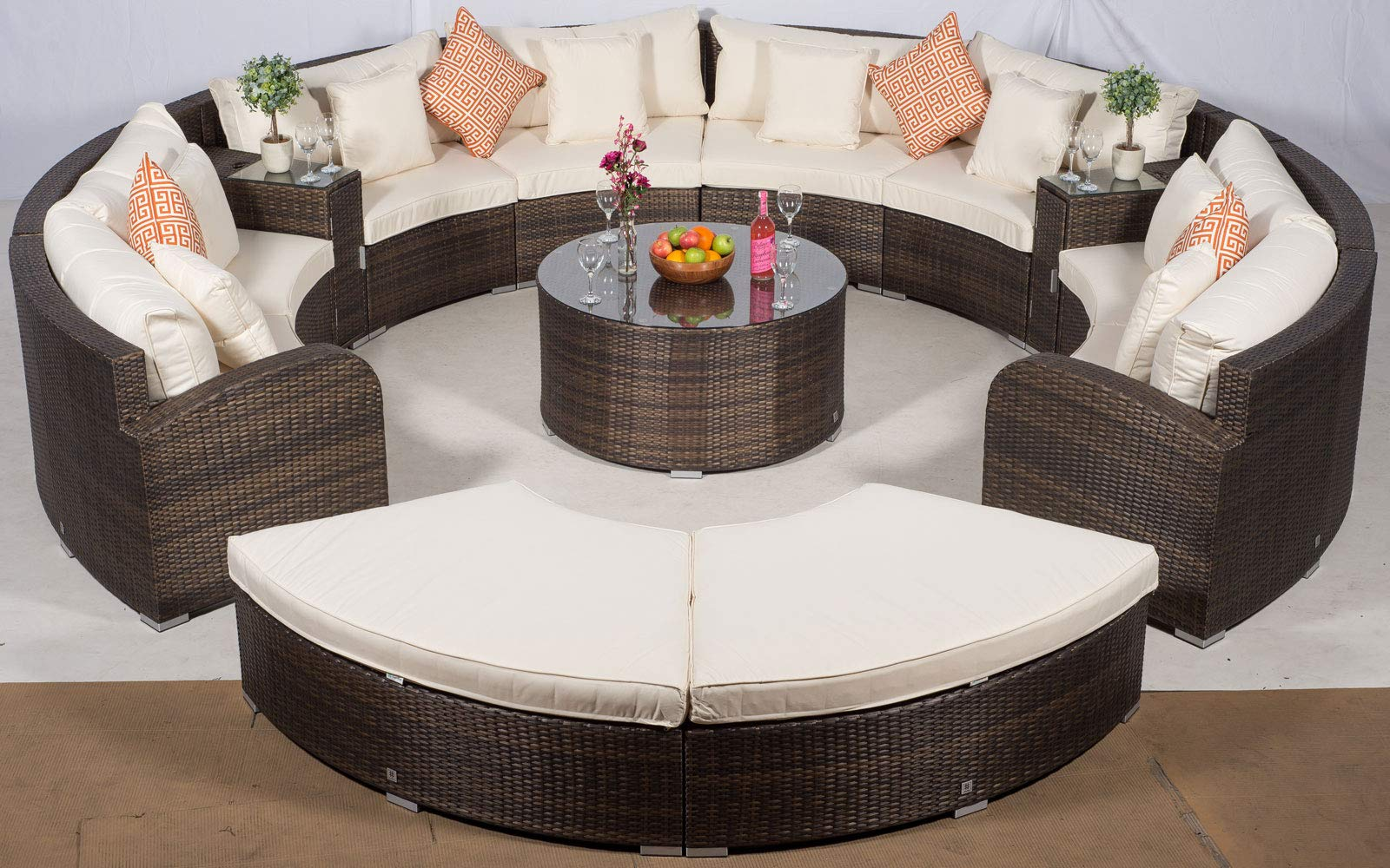 71jljRwShYL - Giardino Riviera 8 Seat Brown Rattan Garden Furniture Set + Coffee Table, 2 Armrest Coolers & 2 Stools + Outdoor Furniture Covers | 13 pcs Round Rattan Sofa Set | Rattan Patio Conservatory Furniture
