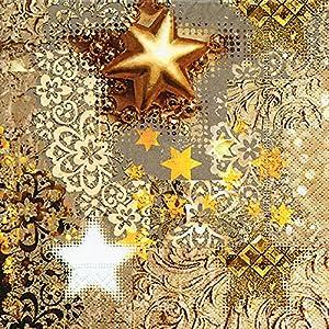 20 Servietten Goldrausch / Sterne / Weihnachten 33x33cm