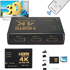 Cables Kart 4K HDMI 3 Port Switch Box High Speed Audio/Video Switcher Splitter with Ultra HD Resolution for PCs, XBOX and TV