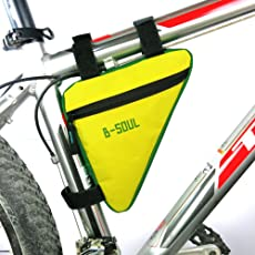WINOMO Bike Bag Bicycle Triangle Frame Bag Waterproof Bags MTB Road Bike Pouch Frame Holder Under Seat Top Tube Saddle Bag Bicicleta Accessories (Yellow and Green)