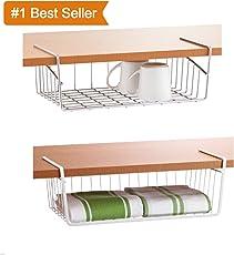 Moohmaya Stainless Steel Under Cabinet Storage Shelf Wire Basket For Kitchen Pantry Bookshelf Cupboard Desk