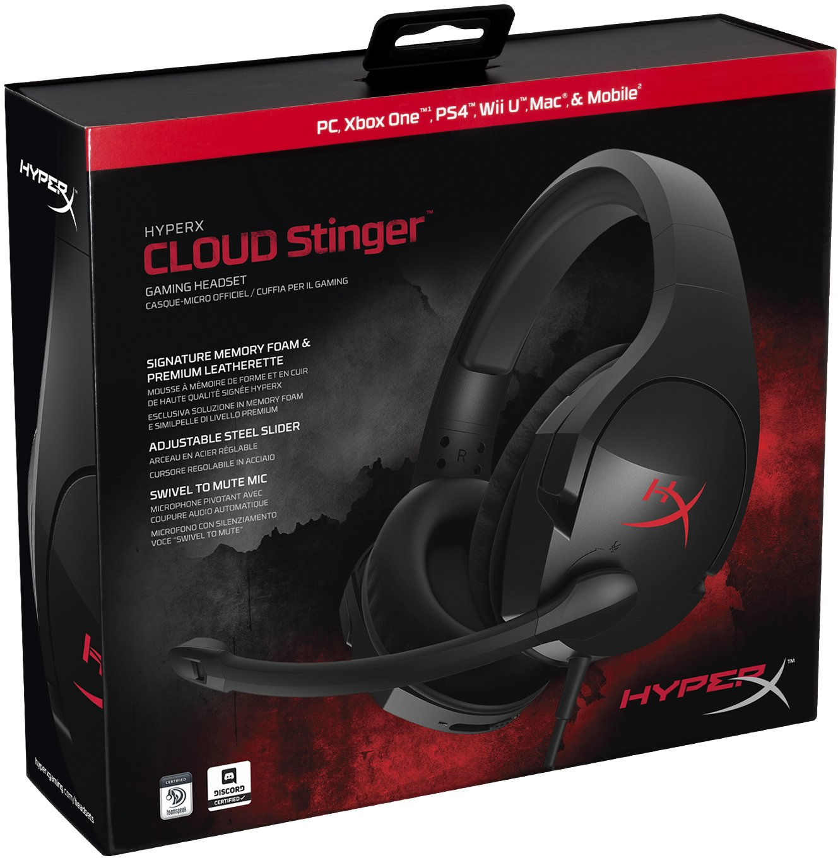 HyperX HX HSCS BKEM Cloud Stinger Gaming Headset for PCXboxPS4 Soundgenie.co.uk
