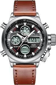 MEGALITH Orologio Uomo Orologi Militari Digitale Sportivo Cronografo LED Impermeabile Design Orologio Quadrante Grande Da Polso Analogico Digitale Data Calendario Allarme