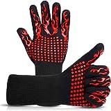Mitening Grillhandskar, BBQ-handskar Extremt Värmebeständiga, Ugn grillhandskar Höga Upp Till 800 ℃, Underarmsskydd för Grill
