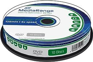 Mediarange Mr450 Dvd Rw 4 7gb 4x Speed Wiederbeschreibbar 10 Stück