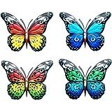 4PCS Métal Papillon Mural Décor, Murale Papillon Art Mural Pour Décor de Clôture de Jardin Intétrieur OU Extérieur, Sculpture