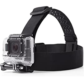 mobilegear Flexible Head Strap Mount with Adjustable Belt for Yi, SJCAM and GoPro HD Hero Action Cameras  Black