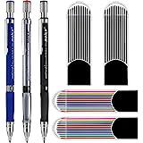 Lápiz mecánico de 3 piezas 2.0 mm con bonificaciones 4 casos de recargas de plomo, Recargas de color y negro para proyectos d
