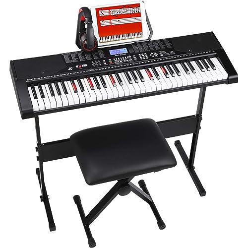 MVPower Tastiera di Pianoforte 61 Tasti con Supporto per Tastiera e Sgabello, Cuffie Comfort e Leggio per Spartiti, Altoparlante e Modalità di Registrazione, 255 Ritmi, 255 Suoni, 50 Demo, Nero