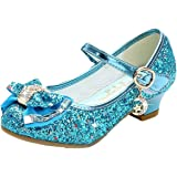Disfraz Princesa Zapatos Zapatillas de Lentejuelas Antideslizante Niñas Zapatos de Tacón Zapatillas de Baile para Vestir Fies