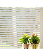 Lukzer 2 PC Strips Frosted Window Glass Film Privacy for Home Office Bathroom Home Static Cling Window Sun Shade Film/Self Adhesive Decorative Sticker 45 cm x 200 cm