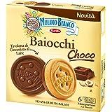 Mulino Bianco Biscotti Baiocchi Choco, Biscotto di Pastafrolla e Tavoletta di Cioccolato al Latte con Nocciole, Ottimi come S