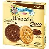 Mulino Bianco Biscotti Baiocchi Choco, Biscotto di Pastafrolla e Tavoletta di Cioccolato al Latte con Nocciole, Ottimi…