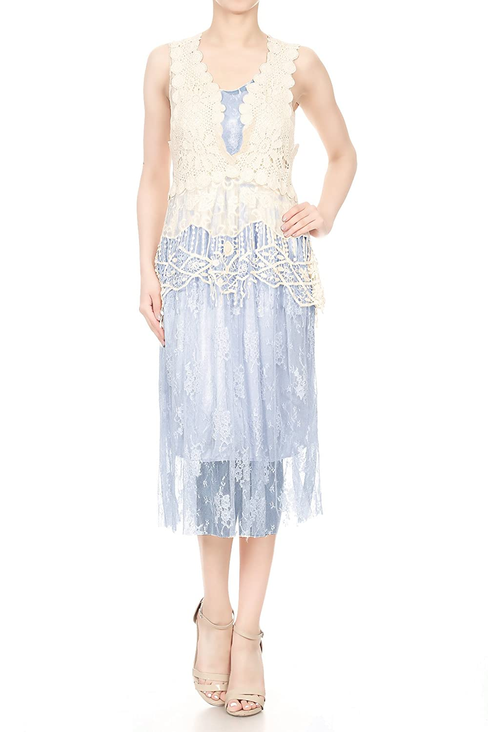 1920s Dresses UK | Flapper, Gatsby, Downton Abbey Dress Anna-Kaci Womens Sleeveless Bohemian Boho Crochet Lace Vest Summer Beach Dress £35.99 AT vintagedancer.com