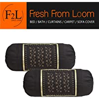 F2L Fresh from Loom Embroidered Bolsters Cotton Covers (Black) - Set of 2