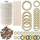 Natuurlijke Macrame Cord (3mm/109 Yard) 100% zacht katoen Macrame touw met 100 stuks houten kralen 32 stks houten ring en 4 s