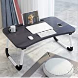 Sorfity Foldable Laptop Bed Table Lap Desk Stand, Serving Tray Dining Table with Slot, Notebook Stand Holder, Bed Tray…