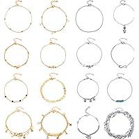 Yaomiao 16 Pièces Bracelets de Cheville de Plage Cheville Réglable Chaînes de Cheville Boho Bijoux de Pied Set pour…