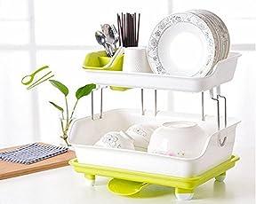 Krevia Kitchen Dish Drainer Rack Plastic | 2 Layer Kitchen Organizer Sink Dish - Cutlery Drying Organizer Drainer Drying Kitchen Storage Rack & Washing Holder Basket (Multi Color)