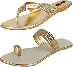 AUTHENTIC VOGUE Women's Combo Pack of 2 Golden Partywear Sandal (Combo Pack of 2)