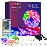 LED-stripverlichting met afstandsbediening, JESLED 6m LED-verlichting voor slaapkamer, RGB-kleurveranderende verlichtingsstri