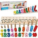 Felly Juguetes Bebe 1 2 3 años Niños, Juegos de Madera Montessori Tablero de Conteo de Números de Apilamiento de Clasificació