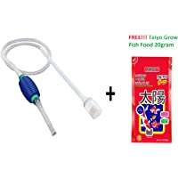 Live With Alive Aquarium Fish Tank Siphon Vacuum Water Pump Gravel Cleaner Comes With Taiyo Grow Fish Food 20Gram