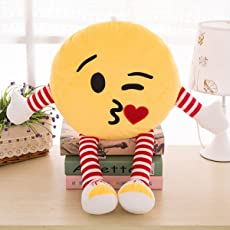 Skylofts Cute 34cm Kissing Emoji Stuffed Smiley Cushion Pillow Soft Toy with Legs and Hands (Kissing Emoji)